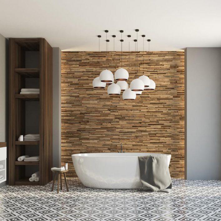 Mur bois Salle de bain