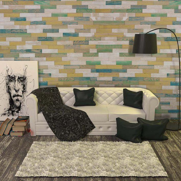 Revêtement mural bois vintage coloré