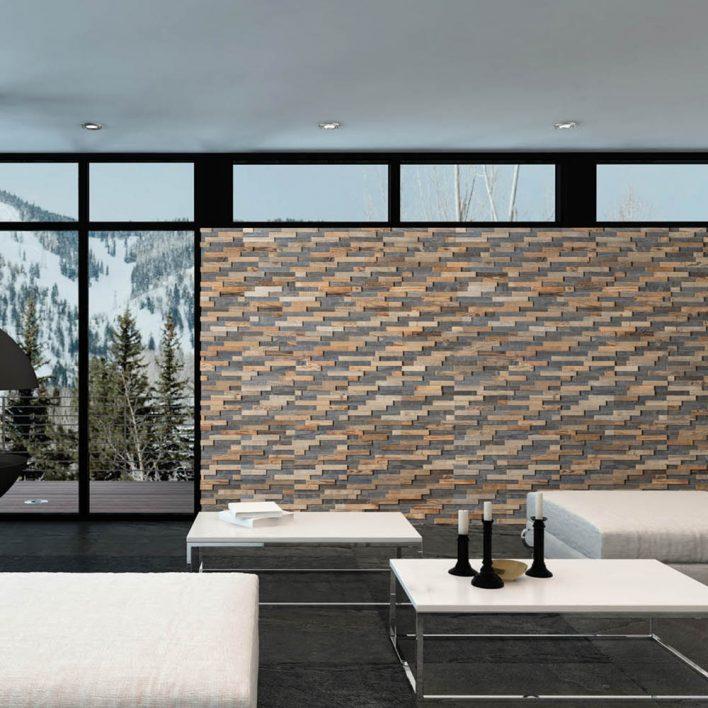 mur de bois massif