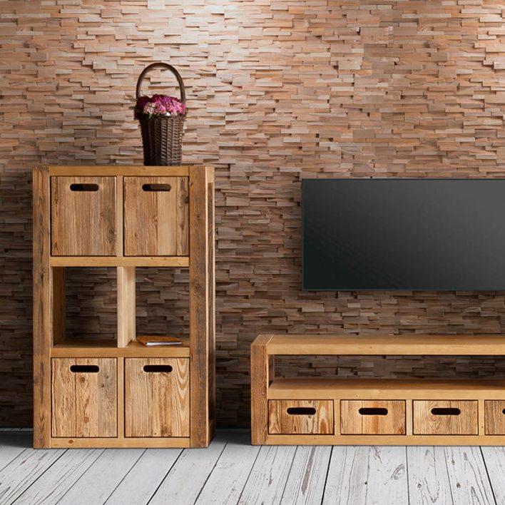 mur en bois massif