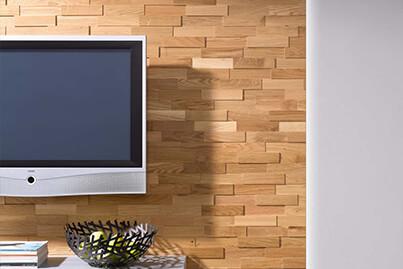 Mur TV en Plaquettes de Bois