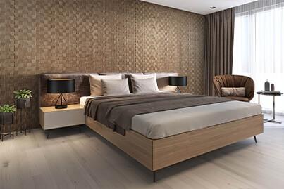 tête de lit bois mur entier