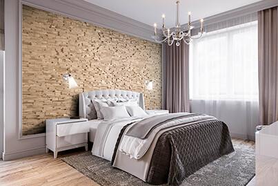 tête de lit bois avec tableau mural