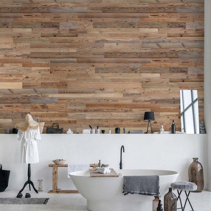 mur avec planche de bois