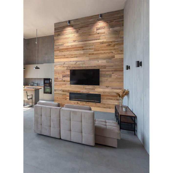 mur tv planche de bois