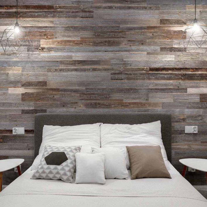 tete de lit en bois de grange