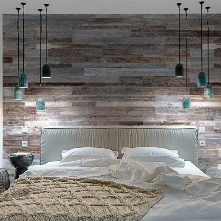tête de lit en bois de grange vieilli