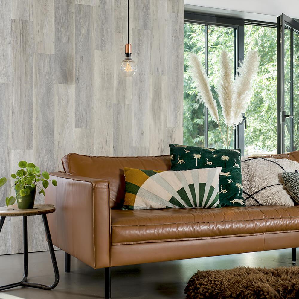 parquet mural pvc imitation bois chêne blanc  lambris pvc