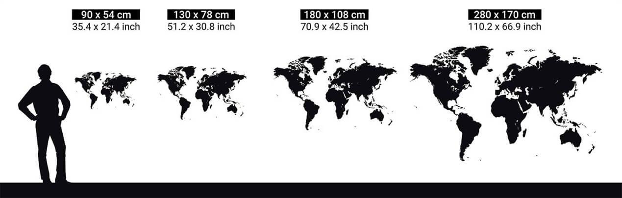 dimensions des cartes du monde murales