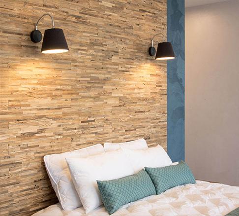 mur tête de lit bois