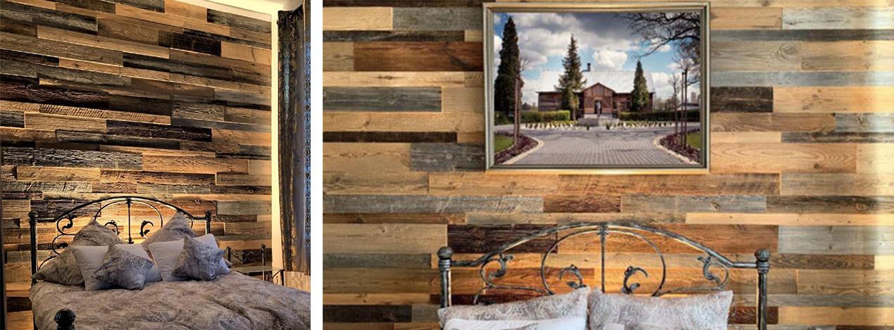 mur tete de lit en lambris-bois vieilli