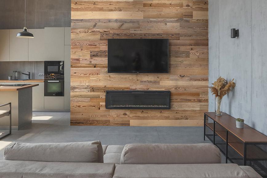 mur tv en planche de bois
