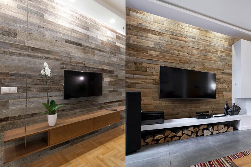 mur tv parement gris