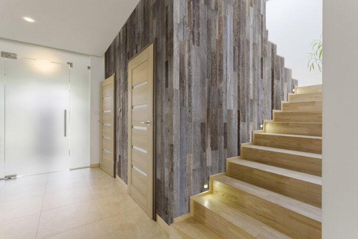 bardage bois interieur vertical escalier