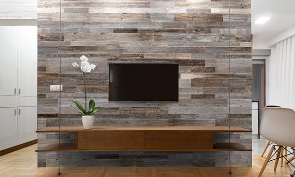 bois de grange en mur tv