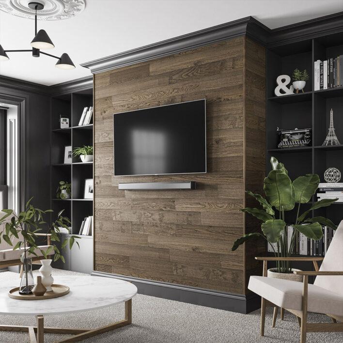 lambris bois large tv