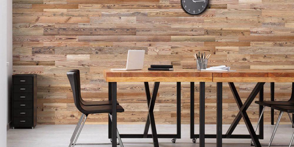 Mur en planche de bois